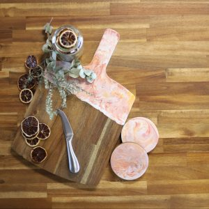 resin cheese platter and coaster set